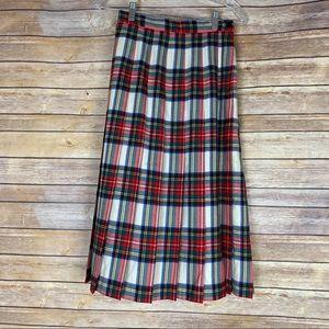 Vtg Talbots Petite Tartan Plaid Pleated Wool Skirt